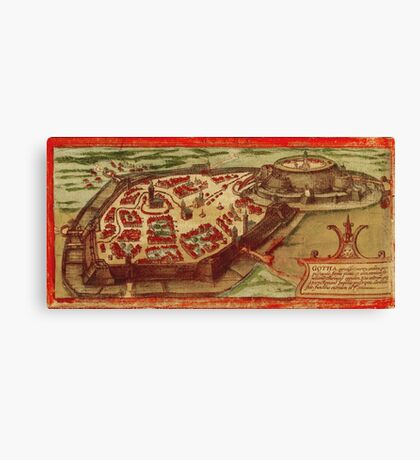 Gotha Vintage map.Geography Germany ,city view,building,political,Lithography,historical fashion,geo design,Cartography,Country,Science,history,urban Canvas Print