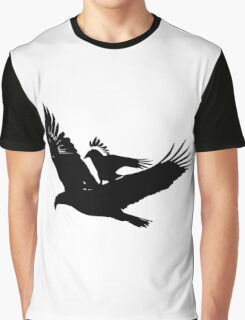 A crow riding an eagle in flight Graphic T-Shirt