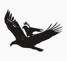 A crow riding an eagle in flight Kids Tee