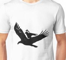 A crow riding an eagle in flight Unisex T-Shirt