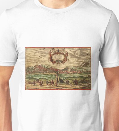 Granada Vintage map.Geography spain ,city view,building,political,Lithography,historical fashion,geo design,Cartography,Country,Science,history,urban Unisex T-Shirt