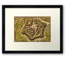 Gravelines Vintage map.Geography France ,city view,building,political,Lithography,historical fashion,geo design,Cartography,Country,Science,history,urban Framed Print