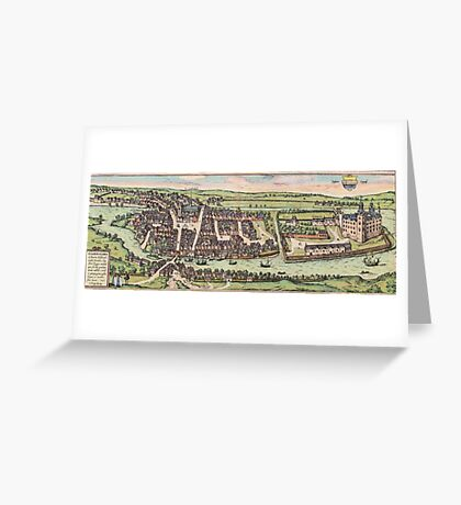 Haderslev Vintage map.Geography Netherlands ,city view,building,political,Lithography,historical fashion,geo design,Cartography,Country,Science,history,urban Greeting Card