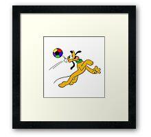Pluto Play Football Framed Print
