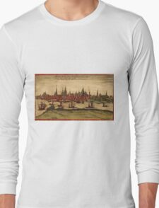 Hansa Vintage map.Geography Sweden ,city view,building,political,Lithography,historical fashion,geo design,Cartography,Country,Science,history,urban Long Sleeve T-Shirt