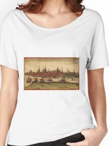 Hansa Vintage map.Geography Sweden ,city view,building,political,Lithography,historical fashion,geo design,Cartography,Country,Science,history,urban Women's Relaxed Fit T-Shirt