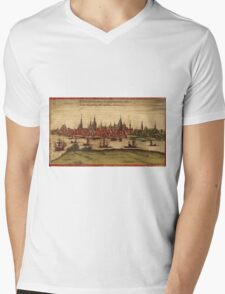 Hansa Vintage map.Geography Sweden ,city view,building,political,Lithography,historical fashion,geo design,Cartography,Country,Science,history,urban Mens V-Neck T-Shirt