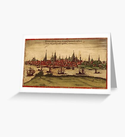 Hansa Vintage map.Geography Sweden ,city view,building,political,Lithography,historical fashion,geo design,Cartography,Country,Science,history,urban Greeting Card