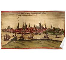 Hansa Vintage map.Geography Sweden ,city view,building,political,Lithography,historical fashion,geo design,Cartography,Country,Science,history,urban Poster