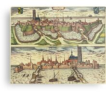 Harderwijk Vintage map.Geography Netherlands ,city view,building,political,Lithography,historical fashion,geo design,Cartography,Country,Science,history,urban Metal Print
