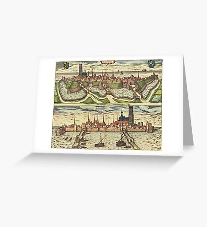 Harderwijk Vintage map.Geography Netherlands ,city view,building,political,Lithography,historical fashion,geo design,Cartography,Country,Science,history,urban Greeting Card