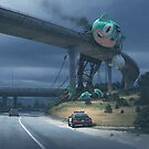 Incident On The Edge Of Town by Simon Stålenhag