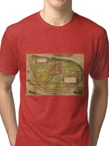 Brielle Vintage map.Geography Netherlands ,city view,building,political,Lithography,historical fashion,geo design,Cartography,Country,Science,history,urban Tri-blend T-Shirt