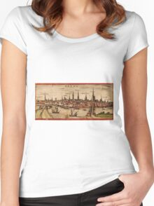 Bremen Vintage map.Geography Germany ,city view,building,political,Lithography,historical fashion,geo design,Cartography,Country,Science,history,urban Women's Fitted Scoop T-Shirt