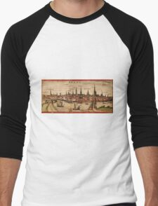 Bremen Vintage map.Geography Germany ,city view,building,political,Lithography,historical fashion,geo design,Cartography,Country,Science,history,urban Men's Baseball ¾ T-Shirt