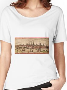 Bremen Vintage map.Geography Germany ,city view,building,political,Lithography,historical fashion,geo design,Cartography,Country,Science,history,urban Women's Relaxed Fit T-Shirt