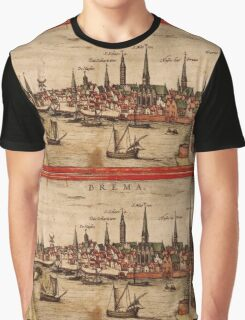 Bremen Vintage map.Geography Germany ,city view,building,political,Lithography,historical fashion,geo design,Cartography,Country,Science,history,urban Graphic T-Shirt