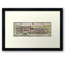 Husum Vintage map.Geography Germany ,city view,building,political,Lithography,historical fashion,geo design,Cartography,Country,Science,history,urban Framed Print
