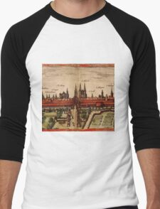 Braunschweig Vintage map.Geography Germany ,city view,building,political,Lithography,historical fashion,geo design,Cartography,Country,Science,history,urban Men's Baseball ¾ T-Shirt