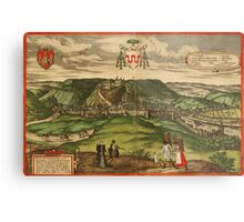 Huy Vintage map.Geography Belgium ,city view,building,political,Lithography,historical fashion,geo design,Cartography,Country,Science,history,urban Metal Print