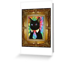 Psychedelic Business Cat Greeting Card
