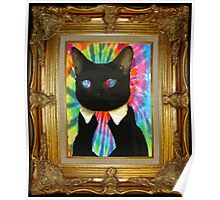 Psychedelic Business Cat Poster