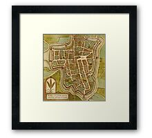 Ieper Vintage map.Geography Belgium ,city view,building,political,Lithography,historical fashion,geo design,Cartography,Country,Science,history,urban Framed Print