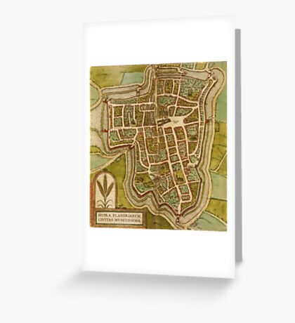 Ieper Vintage map.Geography Belgium ,city view,building,political,Lithography,historical fashion,geo design,Cartography,Country,Science,history,urban Greeting Card
