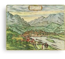 Innsbruck Vintage map.Geography Austria ,city view,building,political,Lithography,historical fashion,geo design,Cartography,Country,Science,history,urban Canvas Print