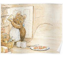 A cute mouse filling her larder by Beatrix Potter Poster