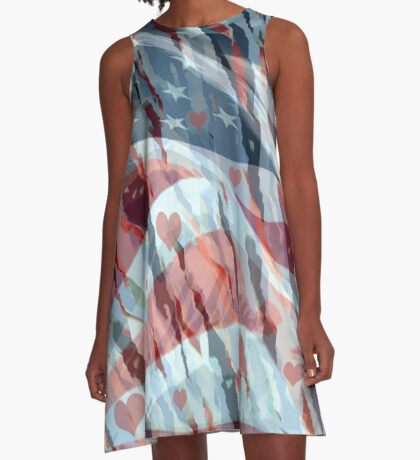 Red, White and Blue A-Line Dress