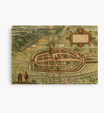 Kalkar Vintage map.Geography Germany ,city view,building,political,Lithography,historical fashion,geo design,Cartography,Country,Science,history,urban Canvas Print