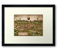 Kempten Vintage map.Geography Germany ,city view,building,political,Lithography,historical fashion,geo design,Cartography,Country,Science,history,urban Framed Print