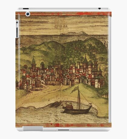 Kilwa Vintage map.Geography Tanzania ,city view,building,political,Lithography,historical fashion,geo design,Cartography,Country,Science,history,urban iPad Case/Skin