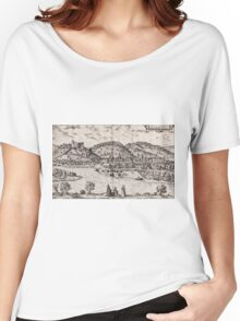 Bratislava Vintage map.Geography Slovakia ,city view,building,political,Lithography,historical fashion,geo design,Cartography,Country,Science,history,urban Women's Relaxed Fit T-Shirt