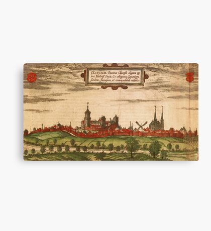 Kleve Vintage map.Geography Germany ,city view,building,political,Lithography,historical fashion,geo design,Cartography,Country,Science,history,urban Canvas Print