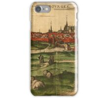 Bourges Vintage map.Geography France ,city view,building,political,Lithography,historical fashion,geo design,Cartography,Country,Science,history,urban iPhone Case/Skin