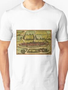 Bourbourg Vintage map.Geography France ,city view,building,political,Lithography,historical fashion,geo design,Cartography,Country,Science,history,urban Unisex T-Shirt