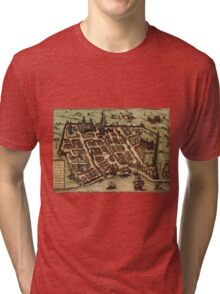 Bordeaux Vintage map.Geography France ,city view,building,political,Lithography,historical fashion,geo design,Cartography,Country,Science,history,urban Tri-blend T-Shirt