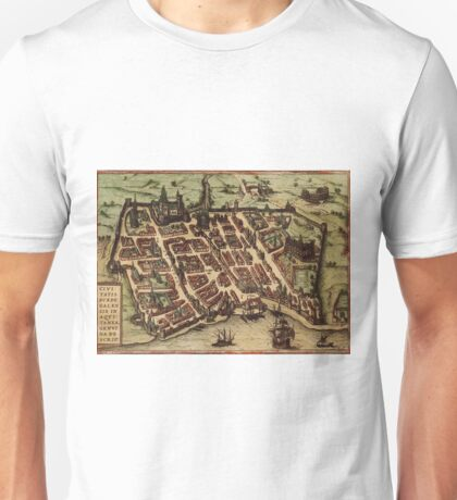 Bordeaux Vintage map.Geography France ,city view,building,political,Lithography,historical fashion,geo design,Cartography,Country,Science,history,urban Unisex T-Shirt