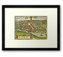Kolding Vintage map.Geography Denmark ,city view,building,political,Lithography,historical fashion,geo design,Cartography,Country,Science,history,urban Framed Print