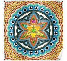 Merkaba, Chakras, Flower Of Life, Metatrons Cube, Sacred Geometry Poster