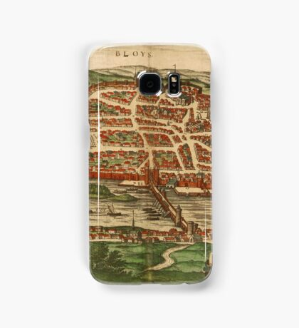 Blois Vintage map.Geography France ,city view,building,political,Lithography,historical fashion,geo design,Cartography,Country,Science,history,urban Samsung Galaxy Case/Skin