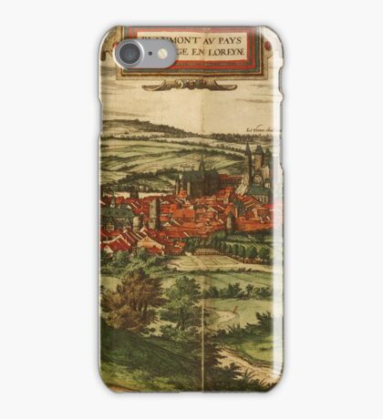 Blamont Vintage map.Geography France ,city view,building,political,Lithography,historical fashion,geo design,Cartography,Country,Science,history,urban iPhone Case/Skin