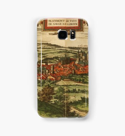 Blamont Vintage map.Geography France ,city view,building,political,Lithography,historical fashion,geo design,Cartography,Country,Science,history,urban Samsung Galaxy Case/Skin