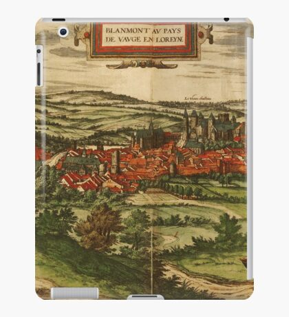 Blamont Vintage map.Geography France ,city view,building,political,Lithography,historical fashion,geo design,Cartography,Country,Science,history,urban iPad Case/Skin