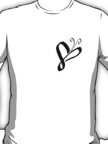 Cursive-Style Heart-Butterfly T-Shirt
