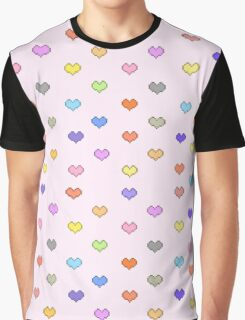 Pixel Candy Hearts Graphic T-Shirt