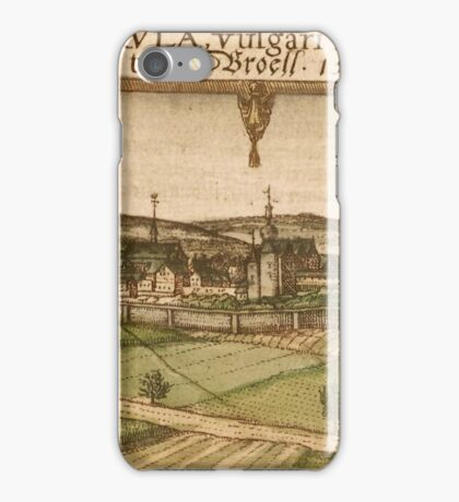 Bruhl Vintage map.Geography Germany ,city view,building,political,Lithography,historical fashion,geo design,Cartography,Country,Science,history,urban iPhone Case/Skin