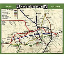 TUBE, UNDERGROUND, MAP, 1908, London, Historic, UK, GB, England, on WHITE Photographic Print